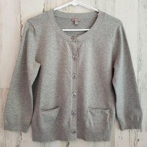 J.Jill Grey Cropped Sweater